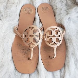 Tory Burch Square Toe Miller Makeup Nude Sandal 10